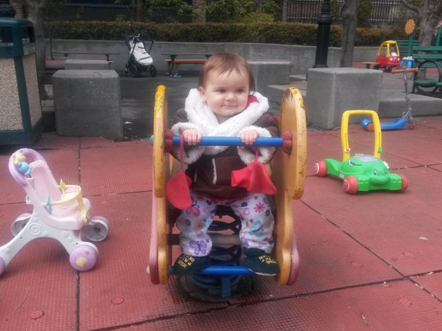 Eloise loves playgrounds with toys!!!