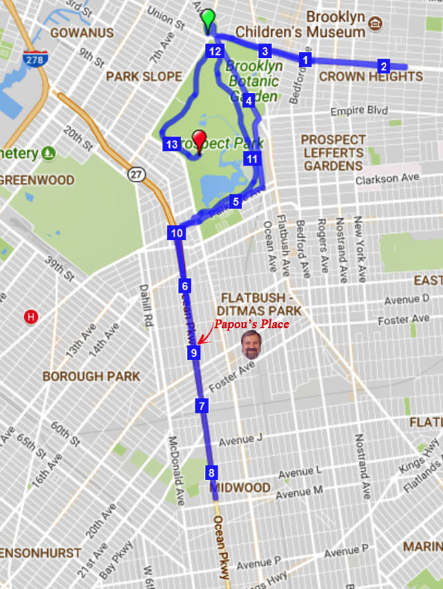 Map for the October 2017 Rock 'n' Roll Brooklyn Half-Marathon