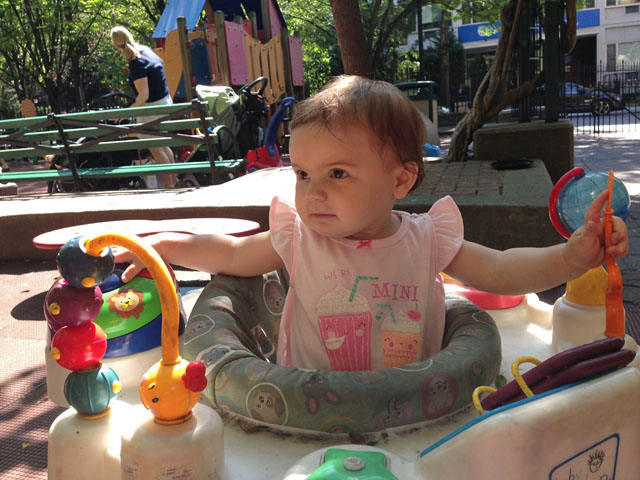 Eloise loves playgrounds with lots of toys!