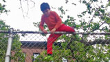 Emmett Climbs Over A High Fence